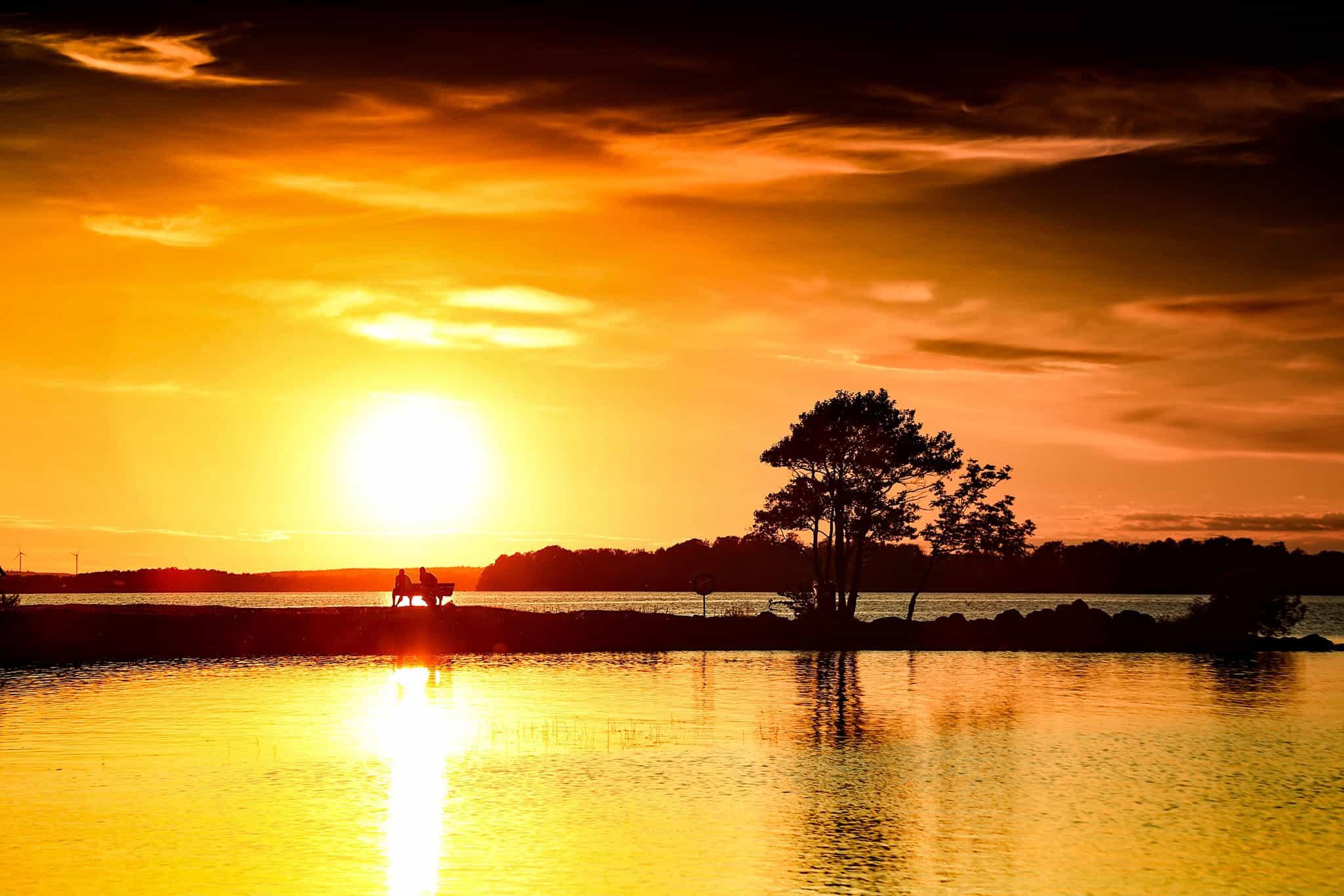 Strandängen, piren i solnedgång, Bromölla