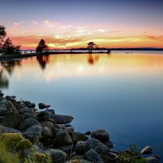 Solnedgång vid piren på Strandängen, Bromölla